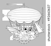 contour steampunk complex... | Shutterstock .eps vector #492663637