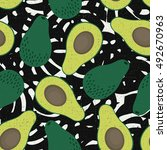 avocado seamless pattern on... | Shutterstock .eps vector #492670963