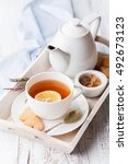tray with cup of hot black tea  ... | Shutterstock . vector #492673123