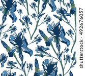 seamless pattern with iris... | Shutterstock .eps vector #492676057
