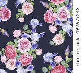 floral seamless pattern with... | Shutterstock . vector #492679243