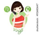woman with virgo zodiac sign ... | Shutterstock .eps vector #492683647