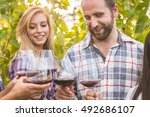 young couple with friends...   Shutterstock . vector #492686107
