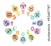 zodiac signs icons set on... | Shutterstock .eps vector #492687787