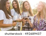group of young smiling girls...   Shutterstock . vector #492689437