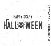 happy scary halloween party... | Shutterstock .eps vector #492691117
