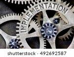 macro photo of tooth wheel...   Shutterstock . vector #492692587