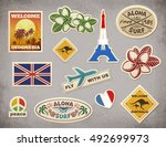 retro travel luggage stickers... | Shutterstock .eps vector #492699973