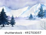 winter landscape. watercolor... | Shutterstock . vector #492703057