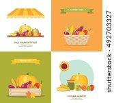 fall harvest festival flat... | Shutterstock .eps vector #492703327