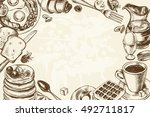 background with hand drawn... | Shutterstock .eps vector #492711817
