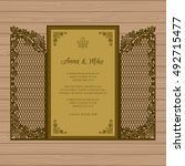 wedding invitation or greeting... | Shutterstock .eps vector #492715477