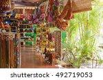 colourful souvenir craft market ... | Shutterstock . vector #492719053