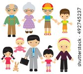 family vector cartoon... | Shutterstock .eps vector #492745237