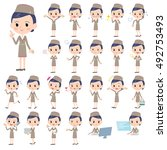 set of various poses of cabin... | Shutterstock .eps vector #492753493