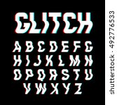 glitch font with distortion... | Shutterstock .eps vector #492776533
