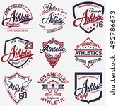 athletic set of 9 | Shutterstock .eps vector #492786673