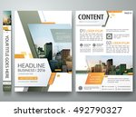Brochure design template vector. Green abstract minimal square cover book portfolio presentation poster. City concept on A4 layout. Flyers report business magazine. | Shutterstock vector #492790327