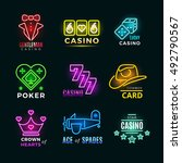 neon light poker club and... | Shutterstock .eps vector #492790567