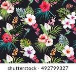 watercolor tropical flower... | Shutterstock . vector #492799327