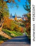 sunny day in prague park ... | Shutterstock . vector #492821047