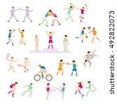 set sport people activities... | Shutterstock . vector #492822073
