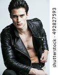 young handsome man  leather... | Shutterstock . vector #492827593