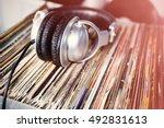 party dj turntable vinyl... | Shutterstock . vector #492831613