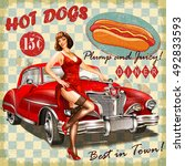 hot dog vintage poster with pin ... | Shutterstock .eps vector #492833593