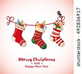 christmas greeting card with... | Shutterstock .eps vector #492836917