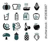 vegetables  fruit icon set | Shutterstock .eps vector #492838387