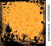 halloween background frame... | Shutterstock .eps vector #492839083