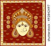 goddess durga for happy... | Shutterstock .eps vector #492842497