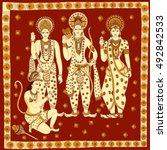 lord rama  laxmana  sita with... | Shutterstock .eps vector #492842533