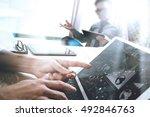 business team meeting present.... | Shutterstock . vector #492846763