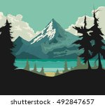 beautiful lake vector nature... | Shutterstock .eps vector #492847657