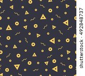 seamless patterns in yellow... | Shutterstock .eps vector #492848737