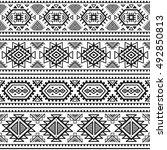 ethnic seamless monochrome... | Shutterstock .eps vector #492850813