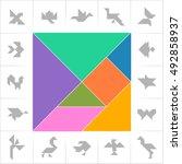 tangram set  cards  cut   play. ...   Shutterstock .eps vector #492858937