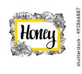 package for honey bee. black... | Shutterstock .eps vector #492866887