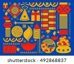 vector illustration of happy... | Shutterstock .eps vector #492868837