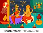 vector illustration of indian... | Shutterstock .eps vector #492868843