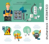 professional electrician... | Shutterstock .eps vector #492869323