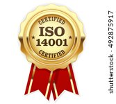 iso 14001 certified   quality... | Shutterstock .eps vector #492875917