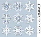 crystal snowflakes   vector set ... | Shutterstock .eps vector #492876217