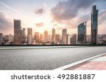 city road with cityscape and... | Shutterstock . vector #492881887