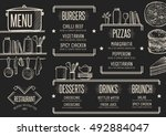 cafe menu food placemat... | Shutterstock .eps vector #492884047