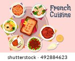 french cuisine meat and fish... | Shutterstock .eps vector #492884623