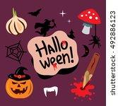 halloween symbols vector... | Shutterstock .eps vector #492886123