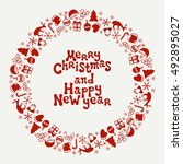 merry christmas and happy new... | Shutterstock .eps vector #492895027